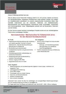 Button Stellenanzeige Kältetechniker Norddeutschland